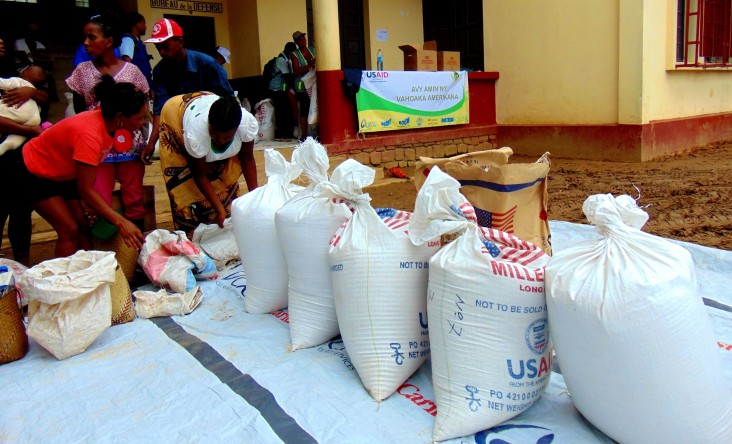 Catholic Relief Services staff prepare a distribution of USAID provided food supplies in Brickaville, March 13, 2017