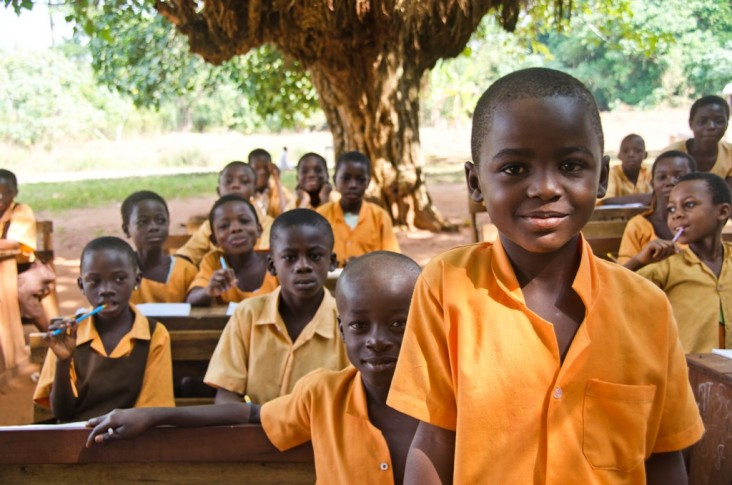 Children in an outdoor classroom