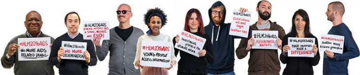 Photo of people holding cards supporting #HLM2016AIDS