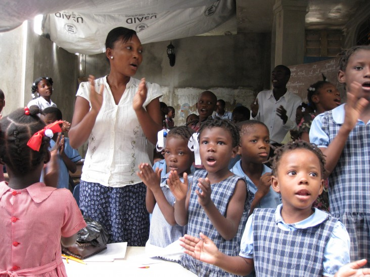 USAID/OFDA helped ensure children were safe and protected after the 2010 earthquake damaged their school in Haiti.