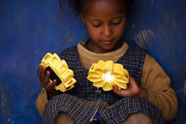 In Addis Ababa, Ethiopia, a schoolgirl is introduced to Little Sun – her first solar-powered light – and the concept that she ca