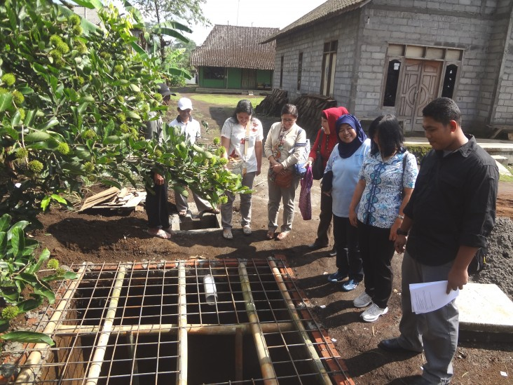 Construction of an infiltration pond in Semarang district, Central Java