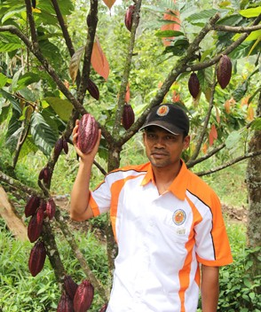 A farmer with his cacao fruit
