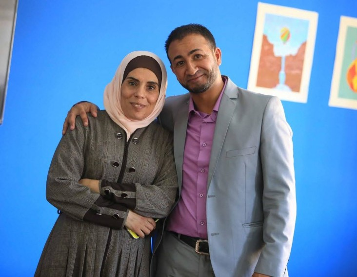 Diy'a Al Hawawsheh, left, and Nael Qabilat, mobilizers/facilitators of non-formal education, in Mleih, Madaba, Jordan