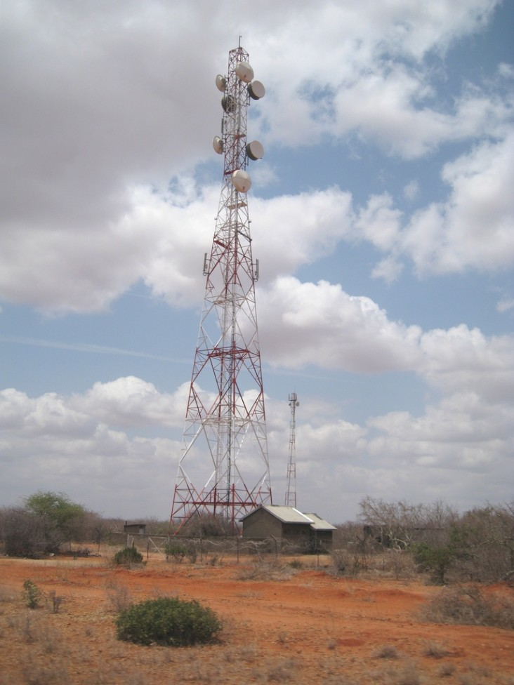 A view of Orange's tower, Dadaab. Orange is a local Kenyan telecommunications provider.