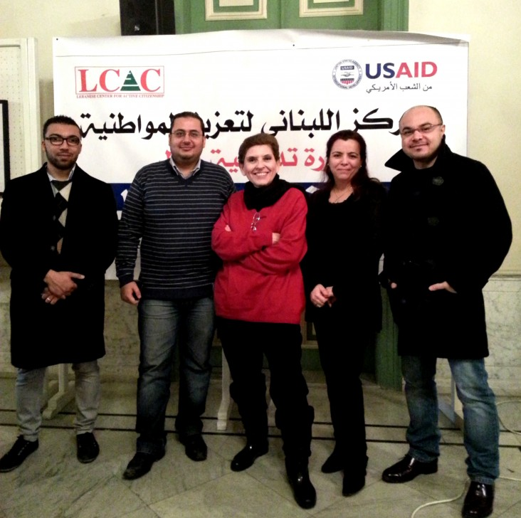 Journalist Magda Abu Fadel, center, with Lebanese Center for Active Citizenship staff and volunteers.