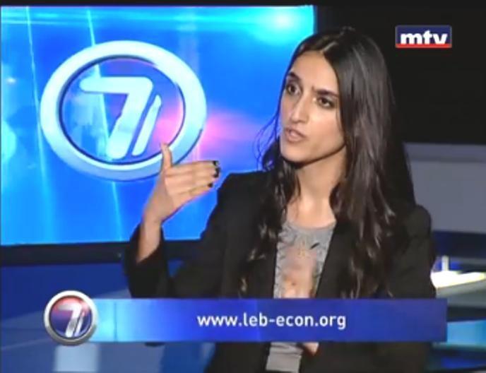 Georgina Manok, Lebanese Economic Association project manager, appears on a Lebanese television broadcast.