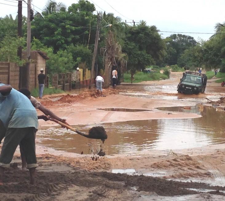 A flooded road in Pemba in 2014
