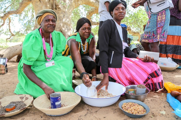 Members of Let's Unite sell amarula nuts and seeds locally.