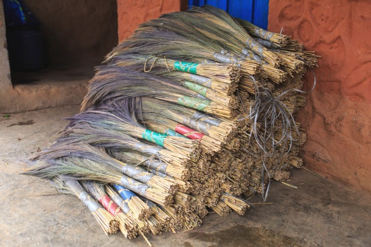 Finished broom grass ready for sale in nearby communities and neighboring India