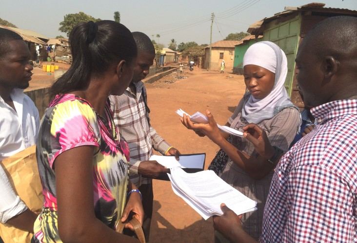 Research assistants conduct the pre-deliberative poll survey in Tamale, Ghana.