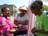 Demonstrating a female condom