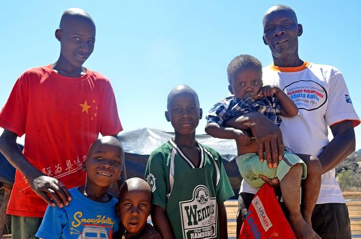 Richard Ndebele with grandchildren