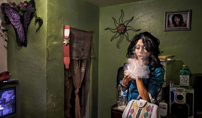 A transgender sex worker in the red light district of Tijuana, Mexico.