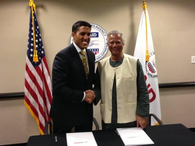 USAID Administrator Rajiv Shah meets with Nobel Laureate Muhammad Yunus.