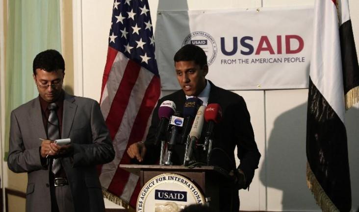 USAID Administrator Rajiv Shah speaks in Yemen. Credit: Hani Mohammed
