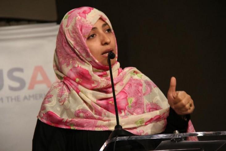 2011 Nobel Peace Prize laureate Tawakkol Karman speaks at the DRG Forum. Credit: USAID