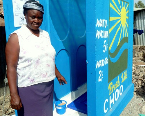 This project not only provides Kenyans with a sanitary toilet, but it also removes waste from their environment...