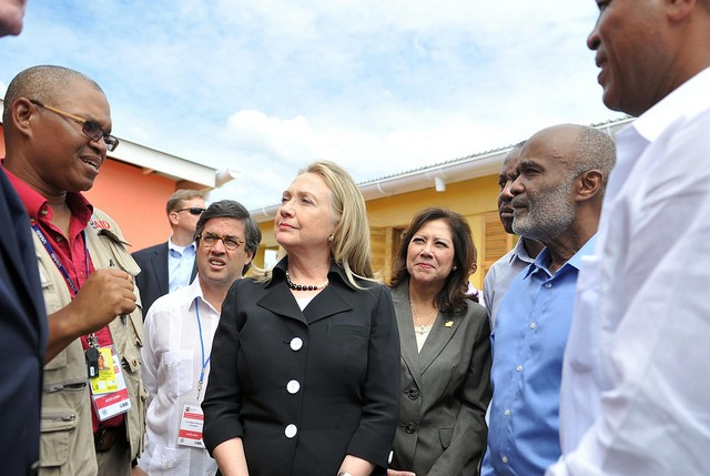 Secretary of State Hillary Clinton and others inaugurate Caracol Industrial Park and visit USAID-funded power plant and housing