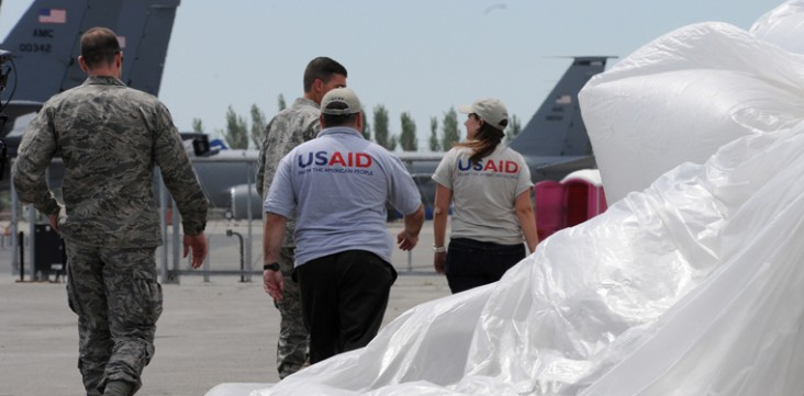 USAID partnered with the U.S. Air Force in June 2010 to deliver 16,600 pounds of relief supplies to people affected by conflict