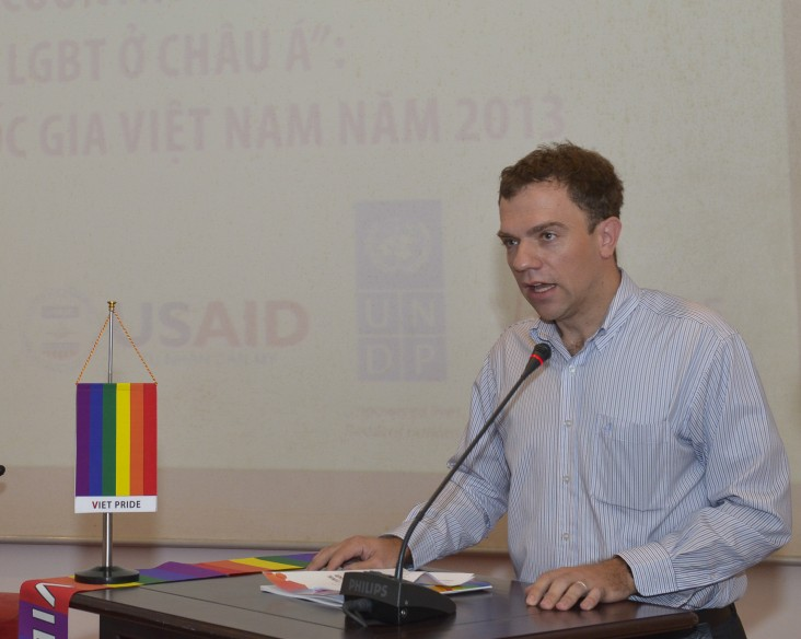 Acting USAID Vietnam Mission Director Randolph Flay speaks at the release.