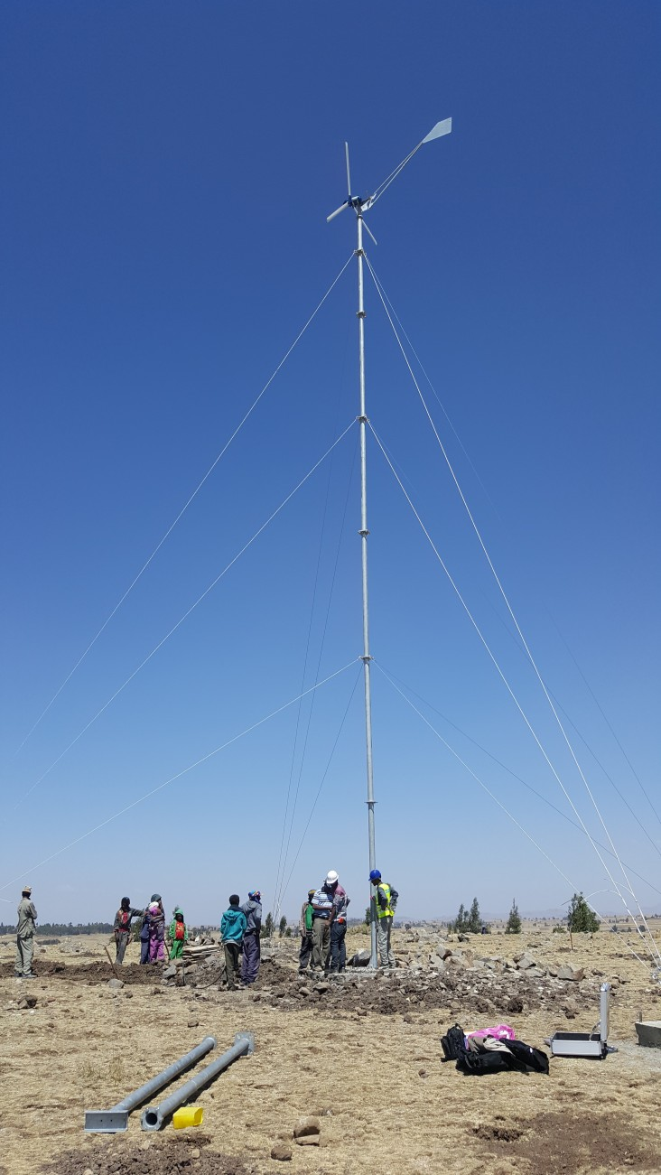 Installation of the first wind turbine.