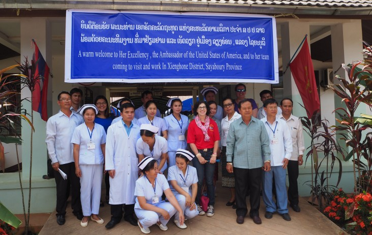 US Ambassador Rena Bitter visits Xienghone District Hospital to observe USAID COPE Mobile Clinic