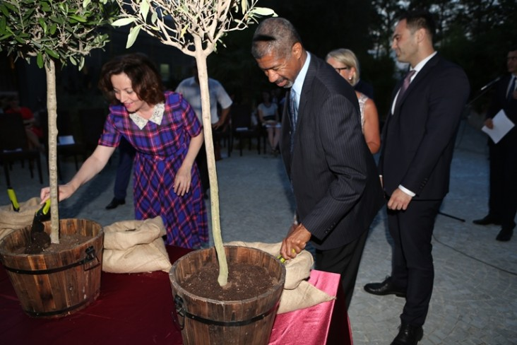 A man and woman planting olive trees