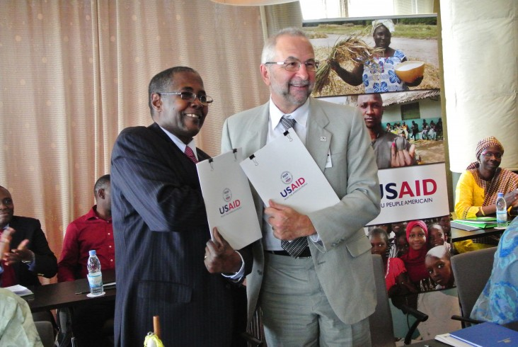 USAID West Africa Regional Mission Director, Alexandre Deprez, and the Executive Secretary of CILSS, Djime Adoum at the signing