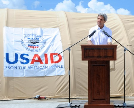 U.S. Secretary of State John Kerry announces $25 million in fresh U.S. recovery aid for the victims of Typhoon Haiyan.