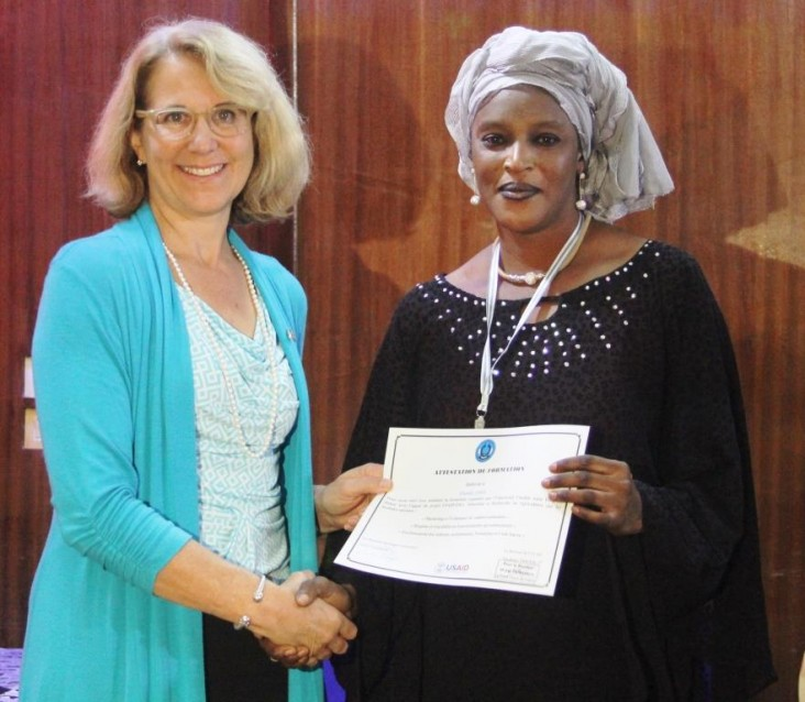 Mission Director Ms Fine with Khady Sarr, a food processor