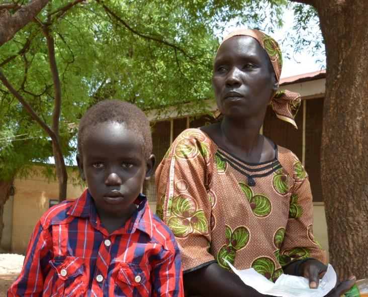 Six-year-old Yohana Peter and his mother Asunta Wasuk seek treatment for his malaria at Al Sabah Children's Hospital in Juba.
