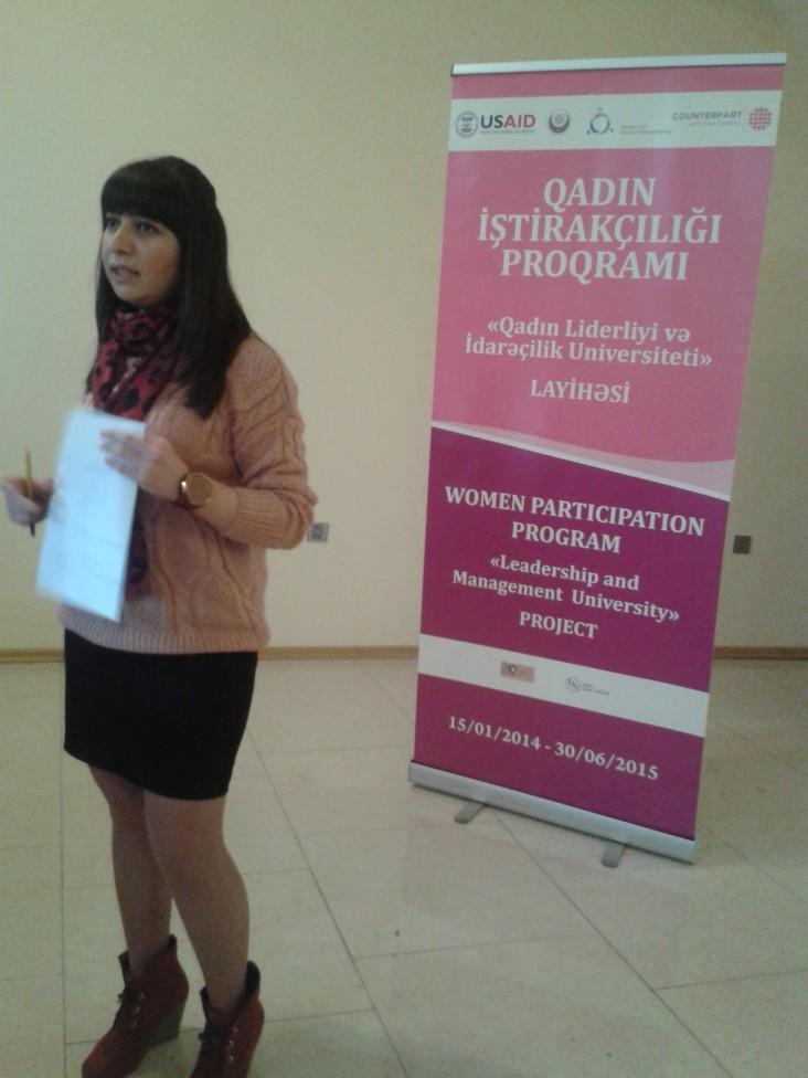 Nehayet Abbasova participates in women empowerment training.