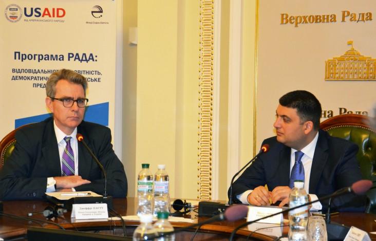 U.S. Ambassador Geoffrey Pyatt and former Verkhovna Rada Chairman Volodymyr Groisman at the Information Center launch.