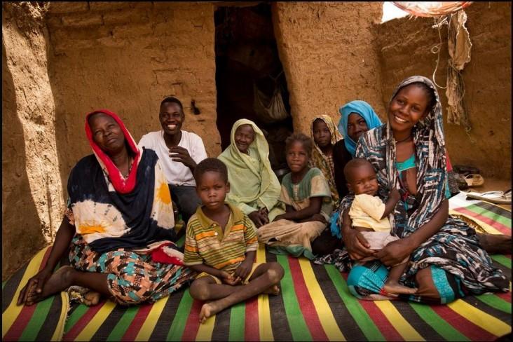 Khadija Abdallah Aboh and her family in Zam Zam Camp, North Darfur