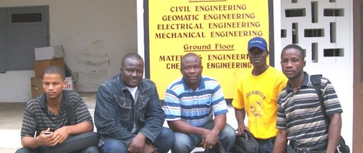 Liberian classmates, left to right, Mahmoud Solomon, Mencer Powoe, Charles Kortimai, Titus Zoneh and Sylvester Bundoo outside th