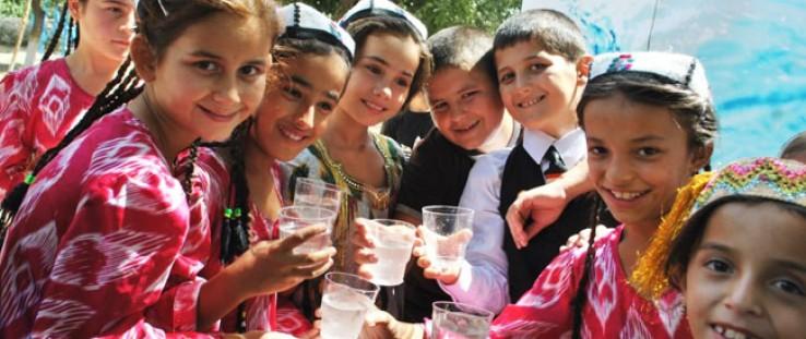 School children in Khatlon enjoy their first taste of drinking water outside their school.