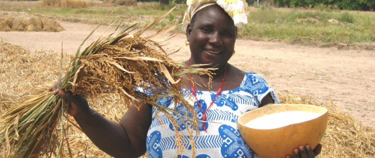 Coumbayel Coulibaly displays the fruits of the harvest.