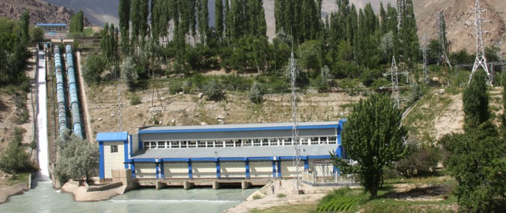 Newly constructed power transmission lines in Khorugh, Tajikistan