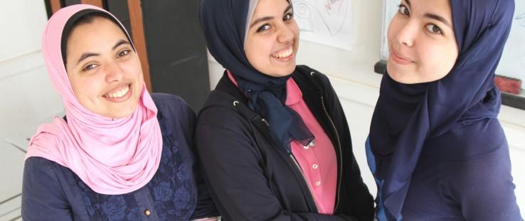 Left to right: Mona El Sayet, Hoda Mamdouh and Sara Ezat.