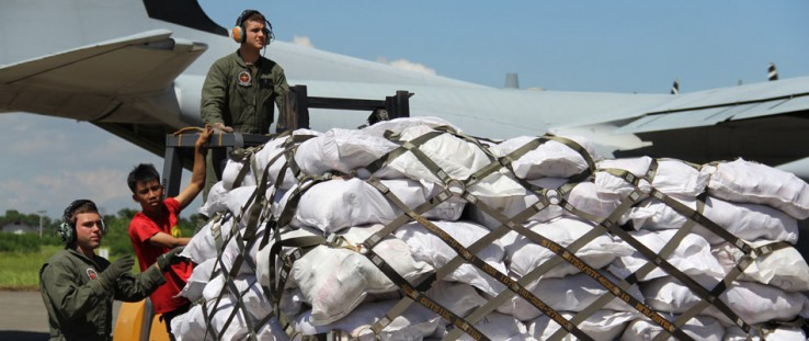 The U.S. Government's C130 plane carrying relief goods from Manila arrives in Davao City on December 11, 2011, to support the Ph
