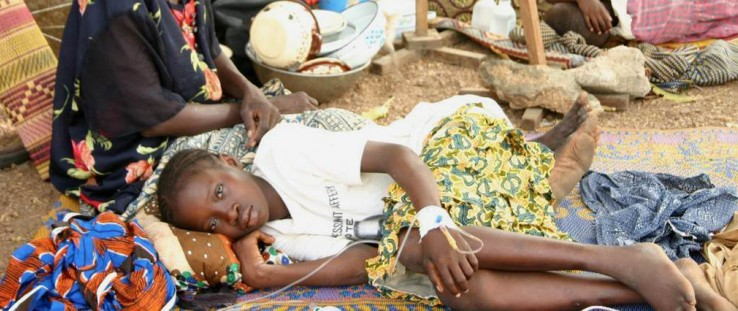 he ground serves as a hospital bed at the Koudougou Health Center in Burkina Faso.