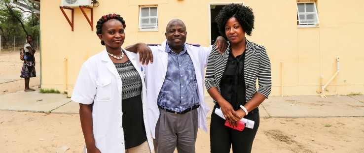 Left to right: Veronika Shivute, Rightwell Zulu and Felistas Shindimba work together to improve early HIV diagnosis for infants.