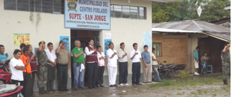 Event organizers participate in the opening ceremony initiating the two-day 'caravana' held in Padre Abad province, March 23-24,