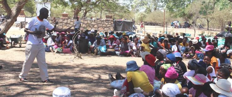 Richard Ndebele at food distribution in Zimbabwe's Impu village