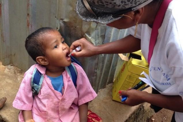 Vaccinated children are fully immunized against polio virus