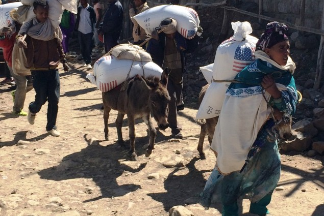 Families begin their journey home from the Estayesh food distribution site in Denkena Kebele, Meket Woreda with emergency food rations.