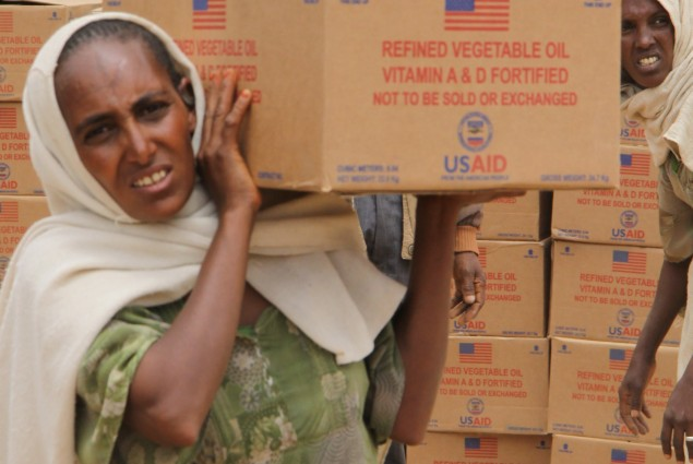 A resident of the Hawzien Woreda carries a box of cooking oil from the food distribution site. The oil will be distributed to food insecure families in her community. USAID purchased the oil for residents in the region in support of the Government of Ethiopia's Productive Safety Net Program.