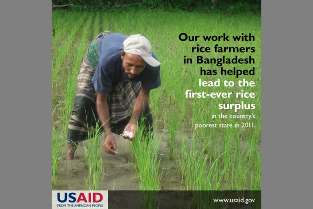 Our work with rice farmers in Bangladesh has helped lead to the first-ever rice surplus in the country's poorest state in 2011