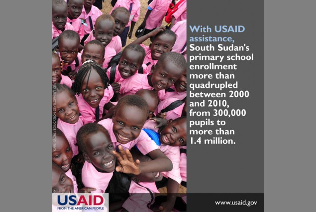 With USAID assistance, South Sudan's primary school enrollment more than quadrupled